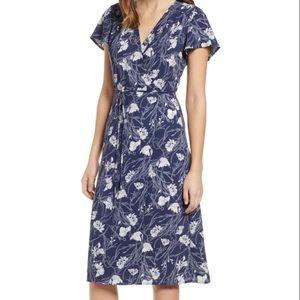 Leith Midi Wrap Dress XS blue floral